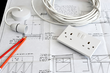 Blueprint plans of home building and construction with electrical items